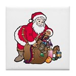 Christmas Art Santa and Toys Tile Coaster