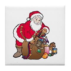 Christmas Art Santa and Toys Tile Coaster