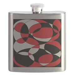 Black, white and Red Ellipticals Flask