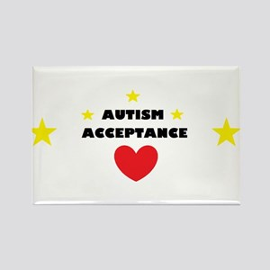 Autism acceptance with 4 stars Rectangle Magnet