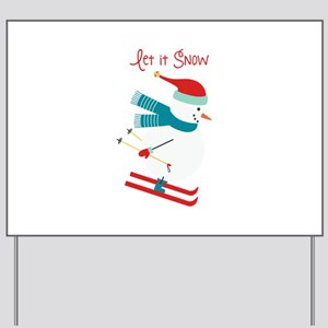 Let it Snow Skiing Yard Sign