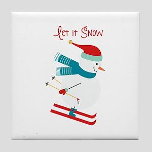 Let it Snow Skiing Tile Coaster