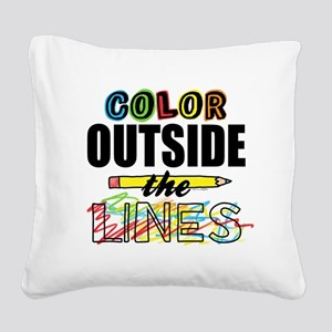 Color Outside The Lines Square Canvas Pillow