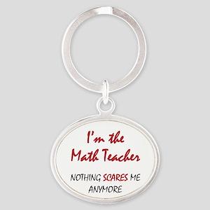 Math Teacher Oval Keychain