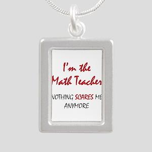 Math Teacher Silver Portrait Necklace
