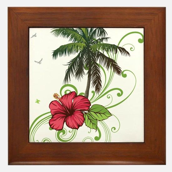 Tree with Hibiscus Framed Tile