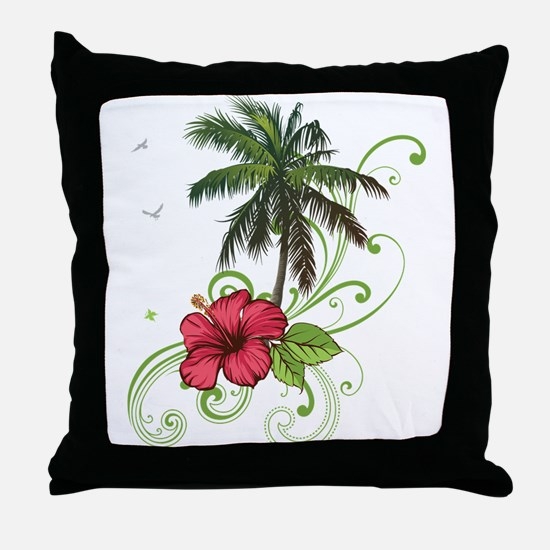 Tree with Hibiscus Throw Pillow