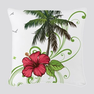 Tree with Hibiscus Woven Throw Pillow