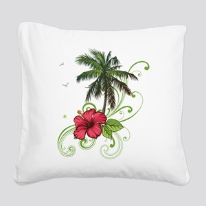 Tree with Hibiscus Square Canvas Pillow