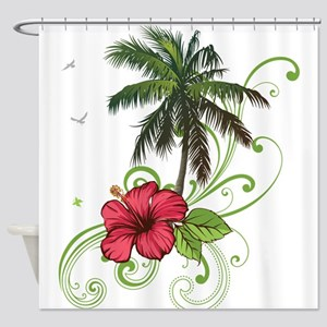 Tree with Hibiscus Shower Curtain