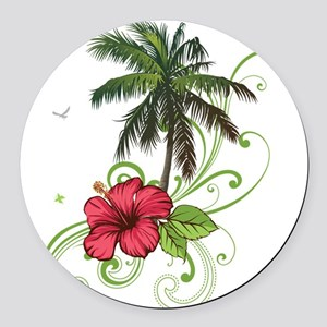Tree with Hibiscus Round Car Magnet