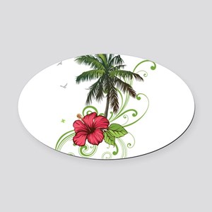Tree with Hibiscus Oval Car Magnet