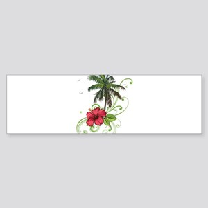 Tree with Hibiscus Bumper Sticker