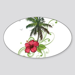 Tree with Hibiscus Sticker