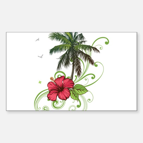 Tree with Hibiscus Decal