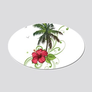 Tree with Hibiscus Wall Decal