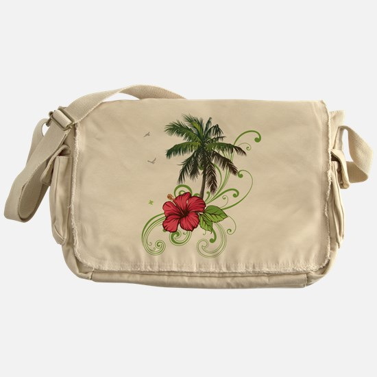Tree with Hibiscus Messenger Bag