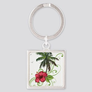 Tree with Hibiscus Keychains