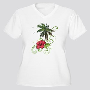 Tree with Hibiscus Plus Size T-Shirt