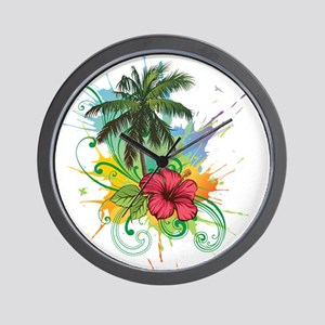 Tree and Flower Painting Wall Clock