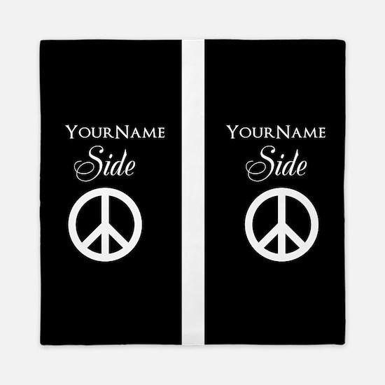 Custom Names Peace Sign Queen Duvet