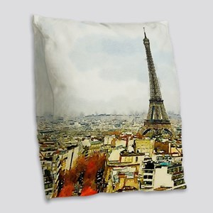 Paris Eiffel Tower Watercolor Burlap Throw Pillow