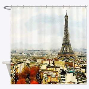 Paris Eiffel Tower Watercolor Shower Curtain