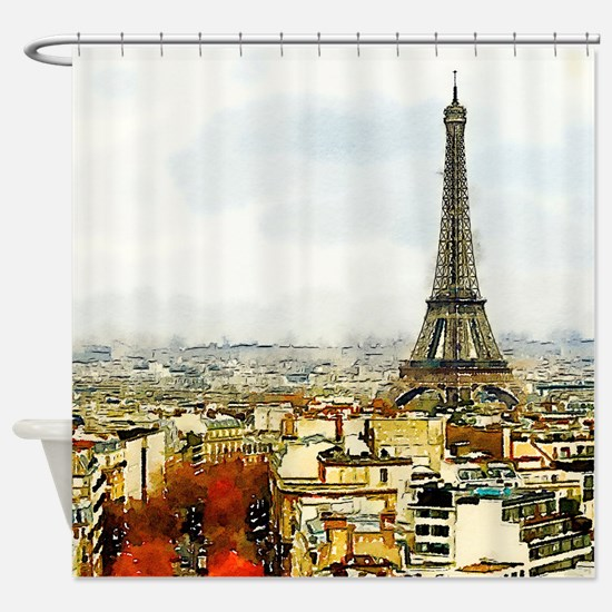 Paris Eiffel Tower Watercolor Shower Curtain