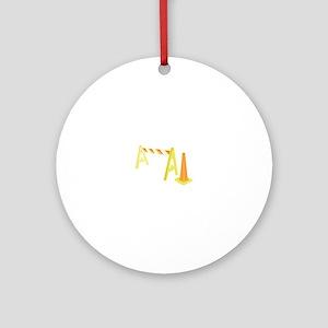 Road Caution Ornament (Round)