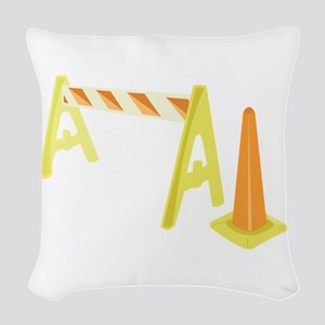 Road Caution Woven Throw Pillow
