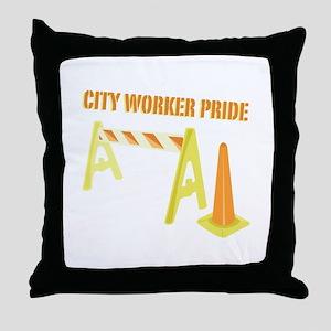 City Worker Throw Pillow