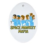 Space Monkey Mafia Oval Ornament