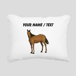 Custom Brown Horse Rectangular Canvas Pillow
