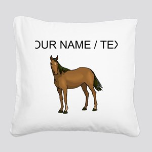Custom Brown Horse Square Canvas Pillow