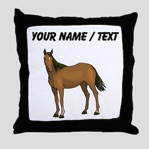 Custom Brown Horse Throw Pillow