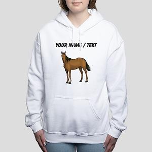 Custom Brown Horse Women's Hooded Sweatshirt