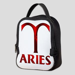 Red Aries Symbol Neoprene Lunch Bag