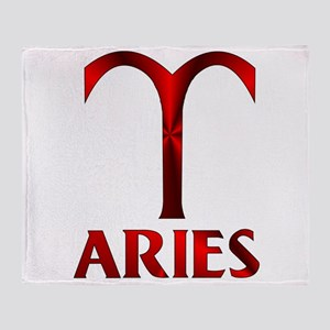Red Aries Horoscope Symbol Throw Blanket