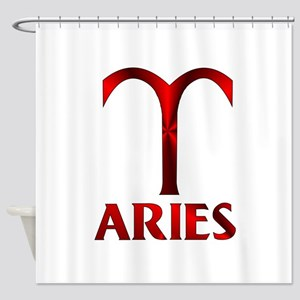 Red Aries Horoscope Symbol Shower Curtain