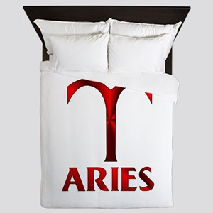 Red Aries Symbol Queen Duvet