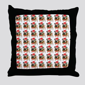 Cute Christmas pug Throw Pillow