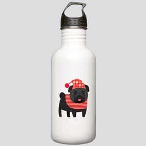 Christmas Pug - Black Stainless Water Bottle 1.0L
