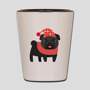 Christmas Pug - Black Shot Glass