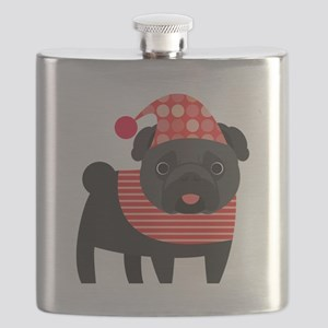 Christmas Pug - Black Flask