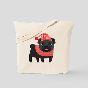 Christmas Pug - Black Tote Bag