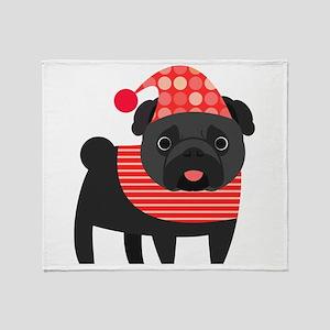 Christmas Pug - Black Throw Blanket