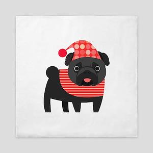 Christmas Pug - Black Queen Duvet