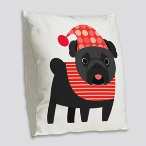Christmas Pug - Black Burlap Throw Pillow