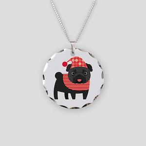 Christmas Pug - Black Necklace Circle Charm