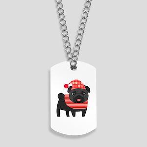 Christmas Pug - Black Dog Tags